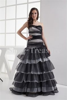 Beautiful Sleeveless Floor-Length Beading Puffy Ball Gown Prom Dresses 002