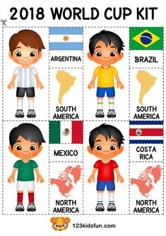 Football 2018 World Cup Kit. Free Worksheets and Activities for Kids. #football #WorldCup #2018