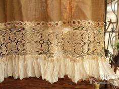 bohemian hand crochet shabby rustic chic burlap shower curtain ruffle rosette