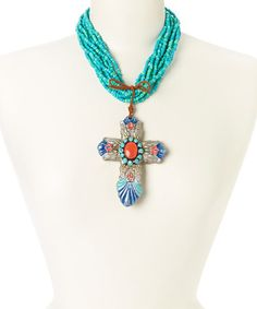 Look at this #zulilyfind! Antique Silver & Turquoise Cross Pendant Necklace by Oori Trading #zulilyfinds