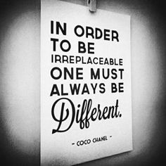 always, be, black and white, coco chanel, cool, differente, quote