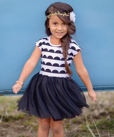 Look at this Taylor Joelle Designs Black Scallop Tutu Dress - Infant, Toddler & Girls on #zulily today!