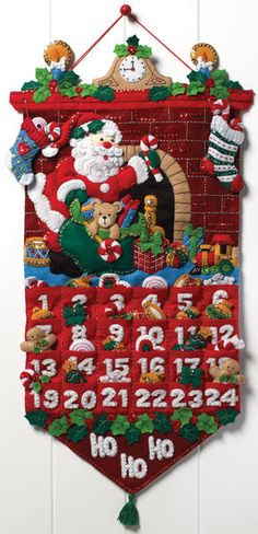 """Before you know it, we will be counting down the days til Christmas! Make the wait extra-festive with the Santa Clause Advent Calendar. Must Be Santa Advent Calendar Felt Applique Kit-13""""x25"""""""