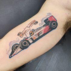 Ayrton Senna Formula One Car - Done by Fernanda Milanello in Sao Paulo Brazil Racing Tattoos, Car Tattoos, Tattoos For Guys, Tatoos, Mercedes Lewis, Grand Prix, Mechanic Tattoo, Discreet Tattoos, Car Painting