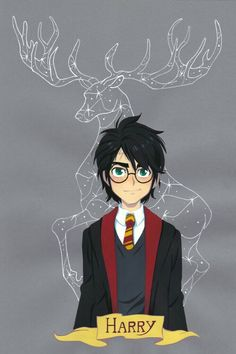 Harry and his patronus, an stag! ハリーと守護霊の牡鹿