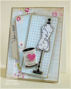 Its Sketch Time! I am so glad that I've been back on the weekly sketch kick with My Favorite Things! Sewing Cards, Shabby Chic Cards, Dress Card, Scrapbooking, Get Well Cards, Sewing A Button, Card Tags, Homemade Cards, Cardmaking