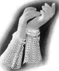 1930s Crocheted LACE CUFF Gloves Crochet Pattern