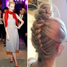 Jaime King upside down braid into a top knot hairstyle | allure.com
