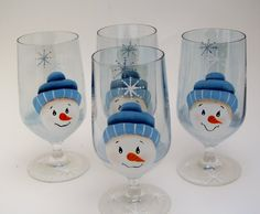 Hand painted Snowman Glasses by TREASURESTOSHARE on Etsy, $32.00