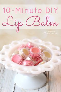 10-Minute DIY Lip Balm - Make your own lip balm or lip gloss in just ten minutes! This is a fantastic DIY homemade gift idea with unlimited flavor and color options!