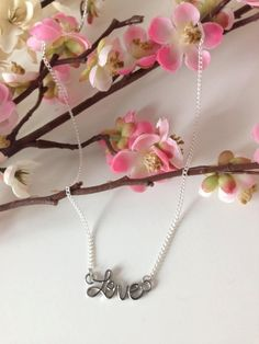 LOVE Necklace = Silver Charm Necklace / Dainty Fine Chain / CUSTOMIZABLE Length / Bridesmaid, Bride, Mother, Sister - A perfect gift for her by MaisonMagnolia on Etsy