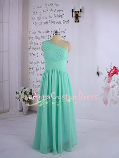 Long Mint Bridesmaid Dress/One-shoulder Wedding Party Dress/Coral Peach Grey Pink Navy Blue Ivory Bridesmaid Dress/Prom Dress/Formal Dress on Etsy, $79.00
