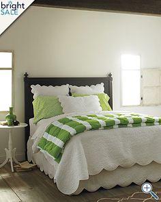 Stripe comforter, white duvet, dot pillows