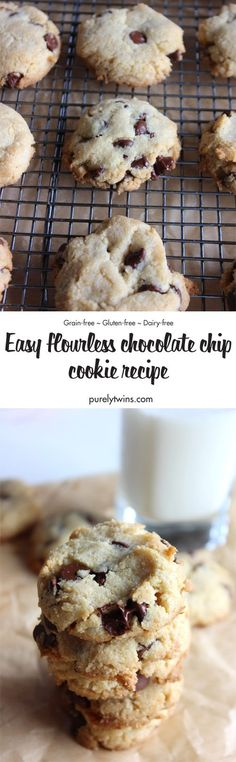 Easy flourless chocolate chip cookies. Made with almond flour and coconut flour. This chocolate chip cookie recipe is gluten-free, grain-free, and dairy-free. These cookies are made from 8 ingredients and easy to make. Paleo friendly almond flour chocolate chip cookie recipe. An all-time favorite cookie recipe.