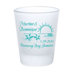 Wedding Favors Beach Personalized Frosted Shot Glasses - Beach Wedding Starfish Sunset Design - Custom Personalized Wedding Favor by Factory21 on Etsy