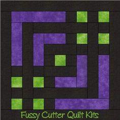 Carpenter's Square Easy Pre-Cut Quilt Kit Purple Green Black Fabrics: