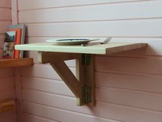 Wall mounted table - Fold down desk - Drop leaf table - Space saving table - Fold down shelf - Wall mounted drop leaf table for one by GoodMoodWoods on Etsy https://www.etsy.com/uk/listing/495471960/wall-mounted-table-fold-down-desk-drop