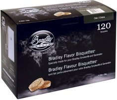 Bradley Flavour Bisquettes 120 Pack For Use With Bradley Smoker- Oak wood burns
