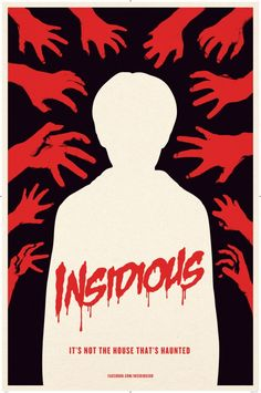 Insidious - This movie is about a young boy who's body is soul-less and has several demons trying possess his empty body and use him as some sort of vessel, this is why the hands around the silhouette of the young boy is relevant. The colours used for the demon hands and the type is red to help symbolize the danger that is shown throughout the film. The type also has dripping effects, much like how blood drips.