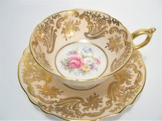Double Warrant Paragon Tea cup And Saucer, Gold filligree on Beige teacup and saucer, Floral Teacup and Saucer. by AntiqueAndCrafts on Etsy