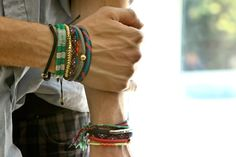 "200+ Bracelets: Who Has The Best-Dressed Wrists In NYC? #refinery29  http://www.refinery29.com/fashion-archive-190#slide2  Alan Eckstein, Designer, Timo Weiland Where is each bracelet from? (from the hand upward) ""Burkman Bros. Ruby Kobo""  Have any tricks or tips for layering bracelets? ""Once they fall off, they're gone forever. Try to mix as much healthy color as possible. Bracelets should be fun!"""