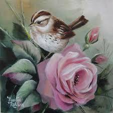 Artist Paulie Rollins (bird and pink rose) Art Floral, Bird Pictures, China Painting, Watercolor Bird, Little Birds, Art Portfolio, Bird Prints, Bird Art, Beautiful Birds