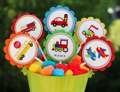 Transportation Cupcake Toppers Transportation by PolkaPartyDecor