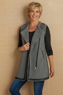 f8c4483b469e0 This ultra soft vest is a terrific seasonal basic to have in your wardrobe  mix. Fashioned of super-cozy French terry and snuggly Sherpa knit