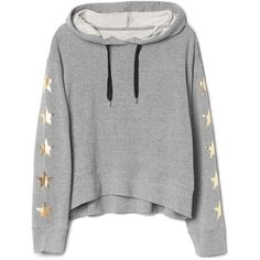 Star-sleeve pullover hoodie (295 NOK) ❤ liked on Polyvore featuring tops, hoodies, shirts, sweaters, grey, sweatshirt hoodies, pullover shirt, gray shirt, grey hooded sweatshirt and gray hooded sweatshirt