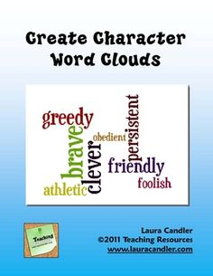 Character Trait Word Clouds Freebie from Laura Candler - complete directions and student printables! Reading Strategies, Reading Skills, Teaching Reading, Reading Comprehension, Reading Stories, Reading Lessons, Character Words, Character Trait, Teacher Resources