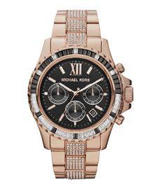 Michael Kors Mid-Size Rose Golden Stainless Steel Everest Chronograph Glitz Watch
