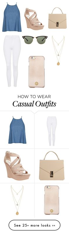 """casual with glam✨"" by flexiflori on Polyvore featuring Topshop, Wet Seal, Tory Burch and Ray-Ban"