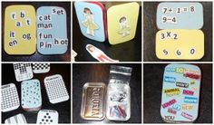 DIY Mini activities and games tin ideas. I especially like the sight words, math, and magnetic poetry ideas.