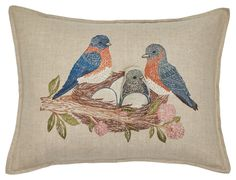 Bluebird Nest Pocket Pillow | Coral & Tusk Bluebird Nest, Accent Pillows, Throw Pillows, Bird Pillow, Woodland Critters, Mamas And Papas, Blooming Flowers, Kids Decor, Blue Bird