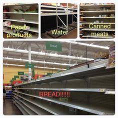 Why be prepared?  this is what the grocery store shelves look like within hours of being told storms are coming or after disaster strikes. Be there do e that!  never again!  this site has a list of Emergency Preparedness List, Apps & Resources.