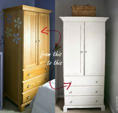 Armoire Makeover With Annie Sloan Chalk Paint in Pure White and Glass Knobs