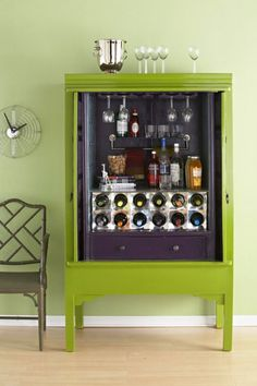 DIY Home Bar Cabinet From An Armoire | Shelterness - I wonder if an outdatd tv entertainment center would work? There are at least 3 at every Goodwill