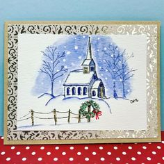 Art Impressions: Wonderful Watercolor...handmade winter, Christmas card. church, chapel, snow, trees, fence, wreath
