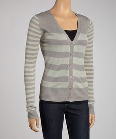 Take a look at this Gray Stripe Long-Sleeve Cardigan by Boulevard Apparel on #zulily today!