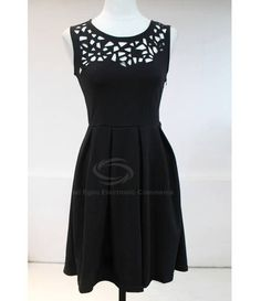 Noble Hollow Out Design Sleeveless Solid Color Dress For Women (BLACK,ONE SIZE) China Wholesale - Sammydress.com