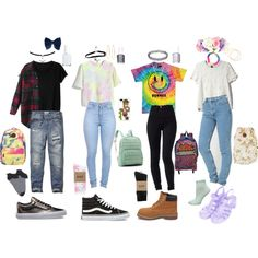 90's Grunge/Pastel school outfits