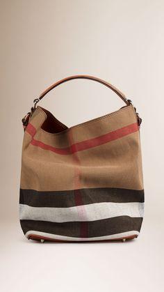 Sac The Ashby medium à motif Canvas check avec cuir Marron Cigare | Burberry