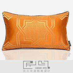 匠心宅品/新古典法式样板房软装床头沙发抱枕橘黄腰枕(不含芯