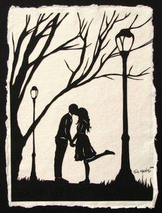 Autumn Kiss - Hand-Cut Silhouette Papercut (linked to original source)