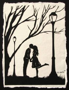 AUTUMN KISS Papercut - Hand-Cut Silhouette - Kissing Couple // Coupon Code…