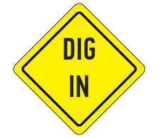 Dig into the food... construction theme party sign