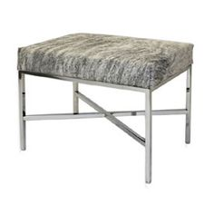 Our hair-on cowhide bench is available in nine different hide options. The firm upholstered seat is attached to a chrome plated metal frame.
