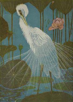 Henri Verstijnen (Dutch, 1882-1940), Silver Heron with Lotus, c.1931. Woodcut in colours.