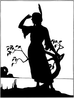 Vintage Native American Girl Image - Silhouette! - The Graphics Fairy