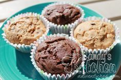 Sandy's Kitchen: Chocolate Chip Cakes - Add some cinnamon and 1 tsp puree pumpkin to muffin.  Frosting:  1 tsp low-fat cream cheese, dab of vanilla, dab of Stevia and mix